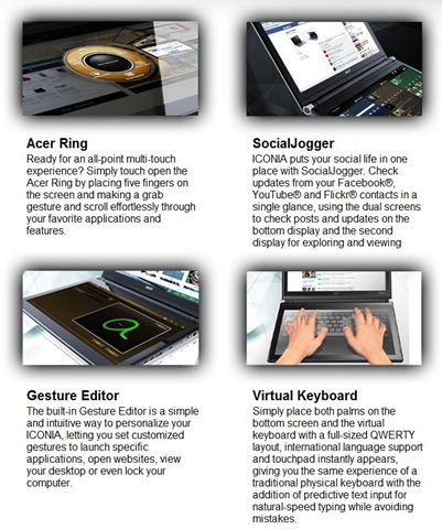 Acer ICONIA -- company specific interface solutions over Windows from the promo page -- Jan 7, 2011