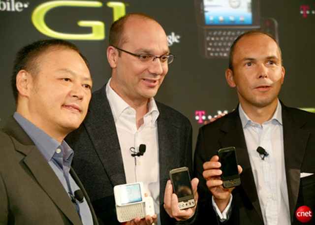 Google Andy Rubin (center) with major early partners HTC CEO Peter Chou and Christopher Schlaeffer T-Mobile -- 8-Oct-2008
