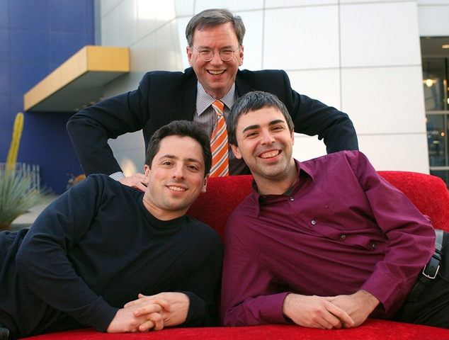 Google -- Eric Schmidt with Sergey Brin and Larry Page in 2001
