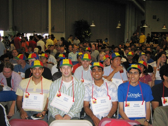 Google TGIF in 2006 with new Googlers wearing propeller heads