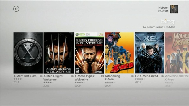 Xbox Bing search results for voice introduced x-men