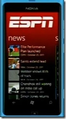 Nokia Lumia 800 with ESPN Hub -- 26-Oct-2011