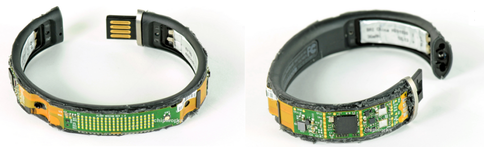 Nike FuelBand - The flexible circuit boards which were designed by Flexible Circuit Technologies fully mounted on the device