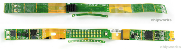 Nike FuelBand - The flexible circuit boards which were designed by Flexible Circuit Technologies with ICs