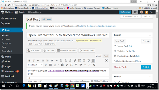 Back to [Open] Live Writer - The classic WordPress.com editing screen on my 15.6 inch notebook -- 11-Dec-2015