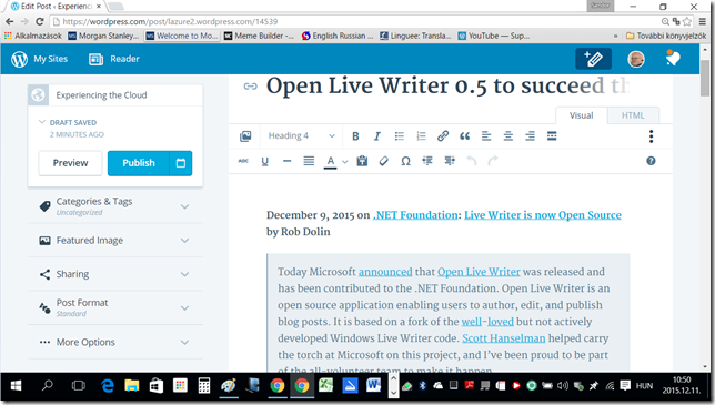 Back to [Open] Live Writer - The improved posting experience WordPress.com editing screen on my 15.6 inch notebook -- 11-Dec-2015
