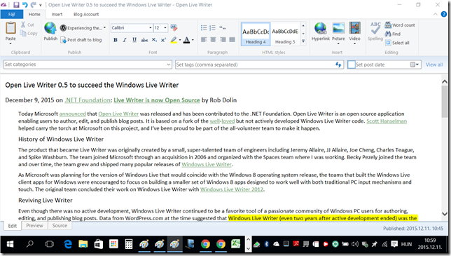 Back to [Open] Live Writer - The Open Live Writer screen on my 15.6 inch notebook -- 11-Dec-2015